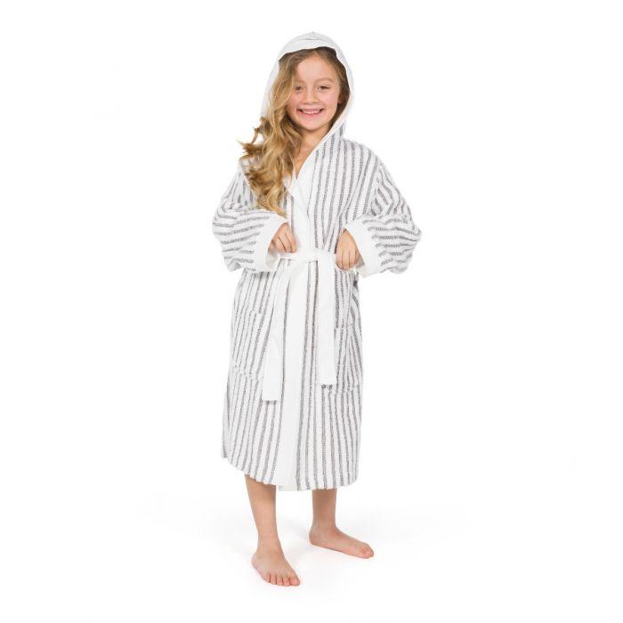 Linum Kids Alev Terry Stripe Hooded Unisex Bathrobe - Linum Towels 13c6278e7